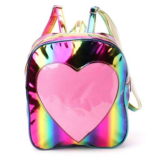Zaino Bookbags, borsa a spalla da viaggio KofunBorsa a tracolla Rainbow da donna con tracolla a forma di arcobaleno con cuore trasparente Arcobaleno
