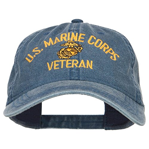 - e4Hats.com US Marine Corps Veteran Military Embroidered Washed Cap - Navy OSFM