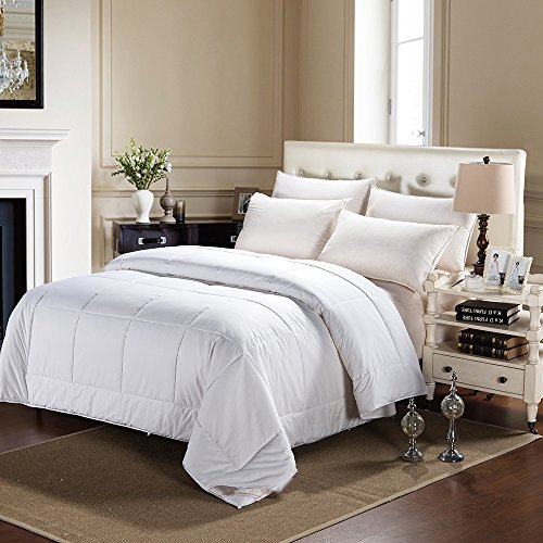 JL Home Collection 100% Silk Comforter All Season Luxury Silk Duvet with Cotton Covered, Machine Washable, Twin, 68×88 inch, Silk Weight: 960g