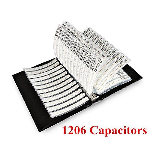 OneBelief [1206] SMD Capacitor Assorted Folder (0.5PF~1UF) [80 Value x 50PCS] Chip Capacitors Assortment Booklet [4000 PCS]