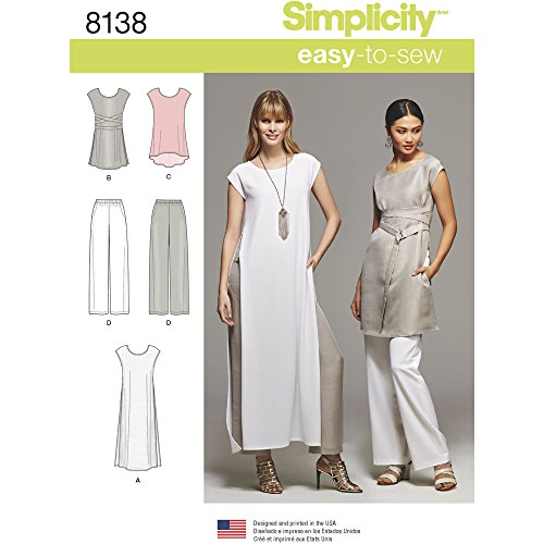 Simplicity Pattern 8138 Misses#039 EasyToSew Tunics and PullOn Pants