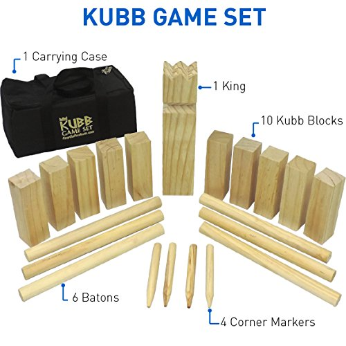 Kubb The Viking Wooden Outdoor Lawn Game Set - One 2 3/4