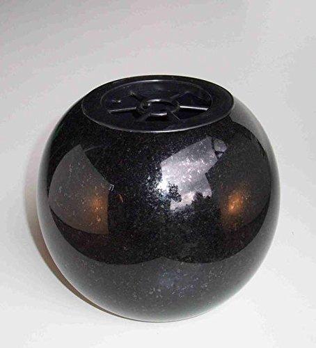 designgrab Kugel Kugelvase Grabvase aus Granit Schwedisch Black SS1 schwarz Friedhofsvase Grabschmuck Kugelgrabvase rund
