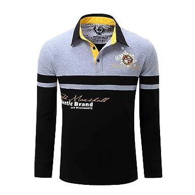 Camisa Polo de algodón para Hombre Camiseta de Manga Larga con ...