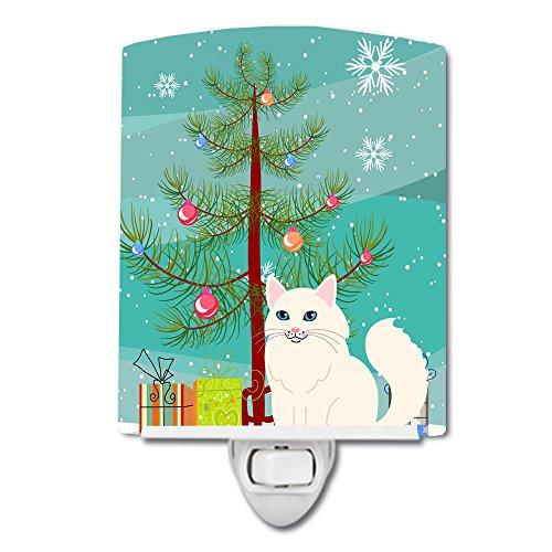 (Caroline's Treasures Turkish Angora Cat Merry Christmas Tree Ceramic Night Light 6x4 Multicolor)