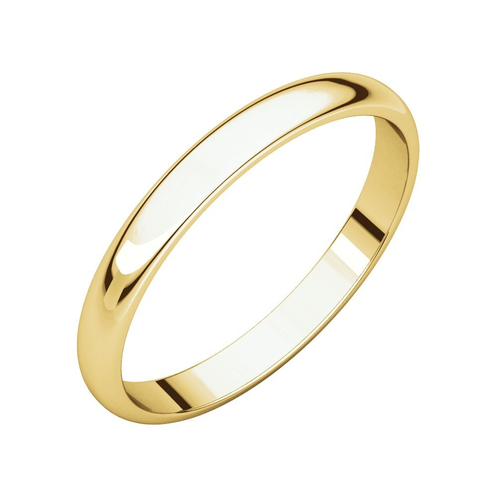 14K Yellow Gold 2.5mm Half Round Light Band