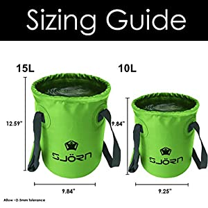 Premium Compact Collapsible Bucket By SJORN - 10L or 15L Portable Folding Water Container - Lightweight & Durable - Includes Grab Handles - Best for Camping, Fishing & Outdoors Green 15L