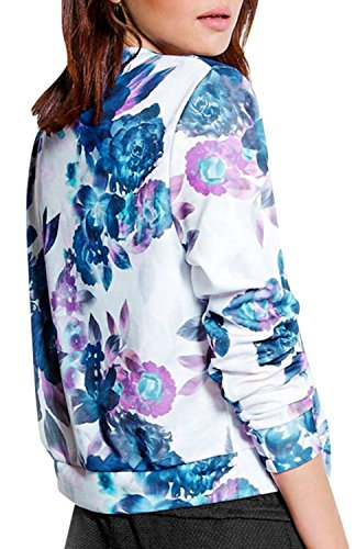 IF FEEL Womens Casual Floral Print Long Sleeve Bomber Jacket ((US 4-6)S, Blue)
