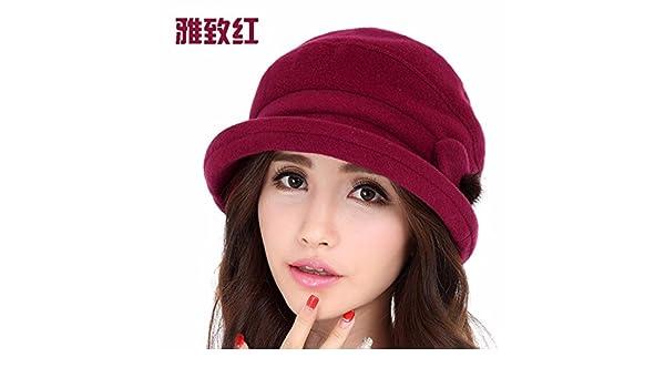 f1954aadca872 SAIBANGZI Alabiada Caliente Hat Dama Moda Otoño Invierno Cálido Invierno Hat  M (56-58Cm) Rojo  Amazon.es  Hogar