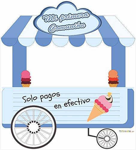 Photocall Carrito helados azul | Medidas 2,85x1,55m | Ventanas Troqueladas | Photocall Divertido: Amazon.es: Hogar