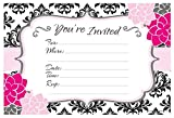 Modern Pink & Black Party Invitations - Birthday, Bachelorette, Bridal Shower - Fill In Style (20 Count) With Envelopes