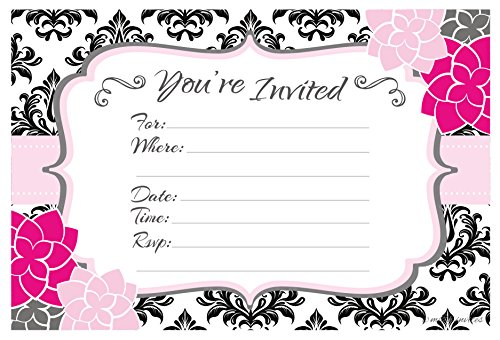 Party Invitations - Birthday, Bachelorette, Bridal Shower - Fill In Style (20 Count) With Envelopes ()