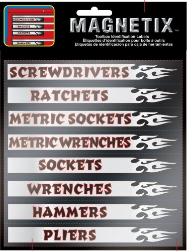 "Chroma Graphics 9025 Magnetix Black/Red/Silver 6"" x 8"" Toolbox Identification Label Kit"