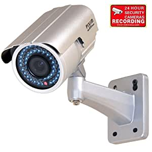 VideoSecu Outdoor Day Night Vision Infrared IR Bullet Security Camera 1/3'' Pixim Color CCD 690TVL High Resolution WDR OSD 6-15mm Vari-focal Lens for CCTV DVR Home Surveillance System 1WR