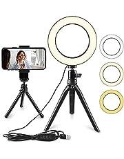 Anel de luz de LED para selfie, luz circular de LED de 15 cm, luz de câmera de vídeo LED, lâmpada de mesa USB LED com suporte, luz de LED regulável de preenchimento, luz de maquiagem de beleza para YouTube/transmissão ao vivo/fotografia/iluminação de retrato