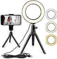 Anel de luz de LED para selfie, luz circular de LED de 15 cm, luz de câmera de vídeo LED, lâmpada de mesa USB