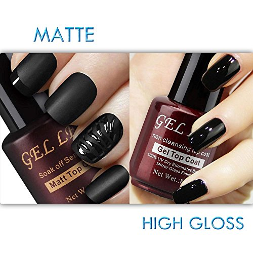 High Gloss Top - Gellen No Wipe Matte Top Coat and High Gloss Shiny Top Coat for Gel Nail Polish