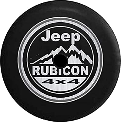 American Unlimited JL Series Jeep Spare Tire Cover Backup Camera Hole Jeep Rubicon 4x4 Mountains - Brushed Steel Black 33 in