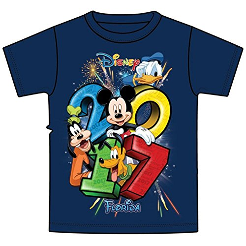 (Disney Youth 2017 Dated Stacked Mickey Donald Goofy Pluto Tee, Navy (Florida Namedrop) (Large))