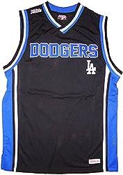 Los Angeles Dodgers Stitch Block Name Sleeveless Jersey Mesh Tank Top Shirt (Black, Medium)
