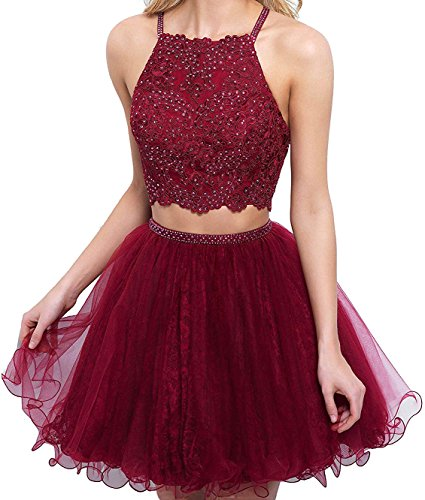Party Beaded Burgundy Piece BessDress Short Homecoming Two Ball Dresses Gowns Short Lace BD335 8q5HOxnT