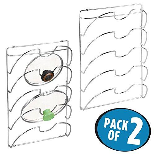 mDesign Kitchen Cabinet Mounted Storage Rack for Pot Lids, Pan Lids - Pack of 2, (Storage Pot Rack)