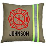 Fully Involved Stitching Firefighter Maltese Cross Pillow with Personalized Name (Tan (Yellow Reflective)
