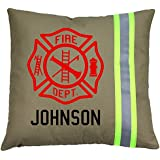 Firefighter Maltese Cross Pillow with Personalized Name (Tan (Yellow Reflective)