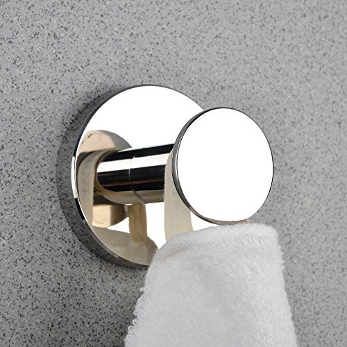 Robe Hook Polished Chrome Single Bathroom Robe Hook Kitchen Wall Mount Robe, Towel & Clothes Holder With small round Hanger Heavy Duty Stainless steel, Screw Fittings Included