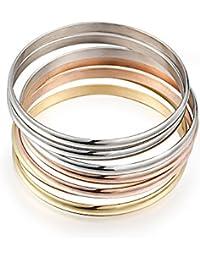 Women's Set of 7 Tri-color Silver/ Gold / Rose Gold Stainless Steel Bracelet Bangle Set 8.4 Inch