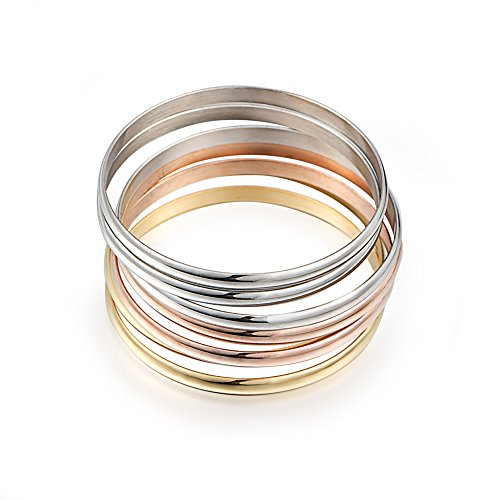 Bangle Stackable (Women's Set of 7 Tri-color Silver/ Gold / Rose Gold Stainless Steel Bracelet Bangle Set 8.4 Inch)