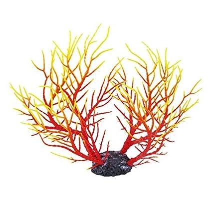 eDealMax Simulación acuarios Coral Planta de agua del ornamento 27cm Altura Amarillo Rojo