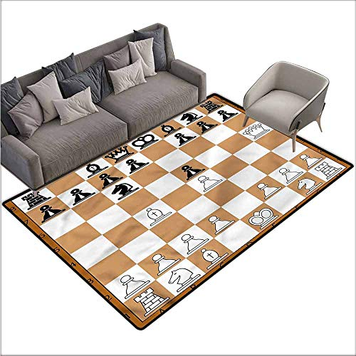 "Polyester Rubber Door Mats Board Game,Classic Brown Chessboard 60""x 72"",Large Area Rugs"