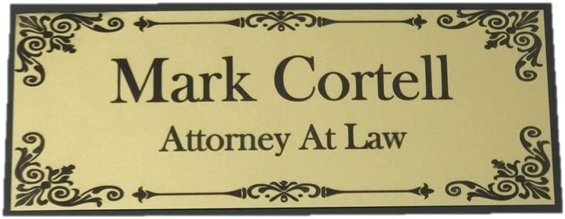 """Beautifully Engraved 8"""" x 3"""" Plaque, Plate, Name Plate, Door Name Plate, Name Badge in Gold with Black Engraving"""