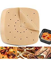 150Pcs Square Air Fryer Liners, Non-Stick Steamer Mat Baking Sheets Accessories, Unbleached Steamer Papers, Precut Baking Parchment for Air Fryer, Steaming Basket and More (8.5 inch)