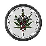 Large Wall Clock Medical Marijuana Caduceus Symbol