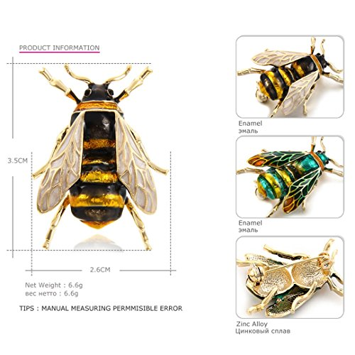 MLXZ Cute Bee Fly Insect Brooch Kids Girls Clothes Accessories Gold-Color Black Yellow Enamel Brooches Birthday Gifts CC18316B by MLXZ (Image #2)