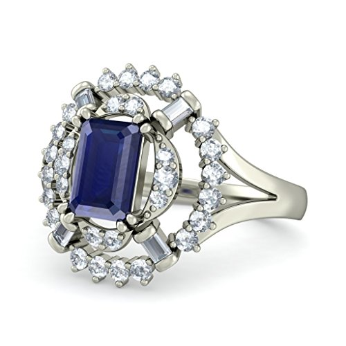 18K Or Blanc, 0,35carat Diamant Blanc (IJ | SI) Saphir bleu et diamant Bague