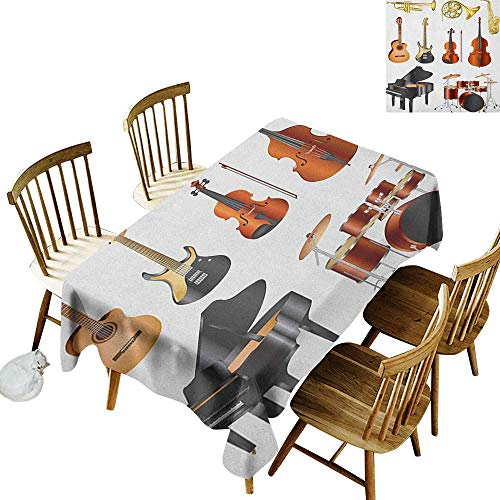 kangkaishi Leakproof Polyester Long Tablecloth Outdoor and Indoor use Collection of Musical Instruments Symphony Orchestra Concert Composition Theme Print W60 x L84 Inch Multicolor]()