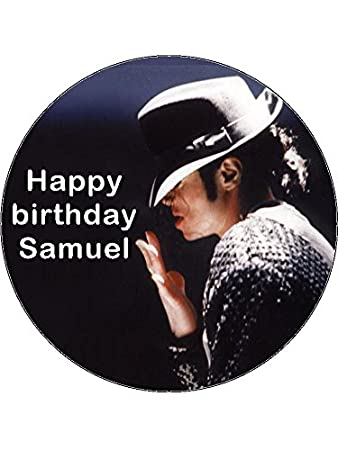Admirable 7 5 Michael Jackson Edible Icing Birthday Cake Topper Amazon Co Personalised Birthday Cards Cominlily Jamesorg