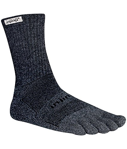 Injinji TRAIL Midweight Crew Coolmax Socks, Granite, Large
