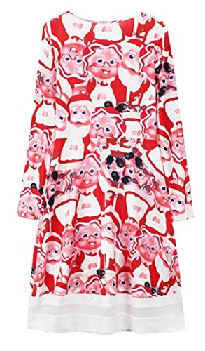 Santa Dress Perspective Claus Women Coolred Pleated Christmas Printed Pattern7 g07Rw