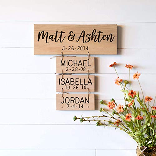 Father's Day Gift for Dad | Anniversary Gifts | Wedding Gifts | Personalized for you | Family Names Wood Sign | Family Established Gift for Women]()