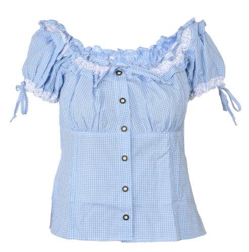 Ramona Lippert Trachtenbluse, Bluse, Carmenbluse Micha blau (40)