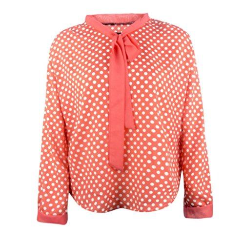 [S-3XL] レディース Tシャツ ドット 大きなサイズ 蝶ネクタイ Vネック シフォンシャツ カジュアル 長袖 トップ おしゃれ ゆったり 人気 高品質 快適 薄手 ホット製品 通勤