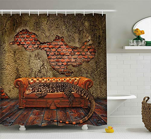 Ambesonne Fantasy Decor Shower Curtain, Decadence Grunge Ruin Brick Wall and a Giant Lizard on Sofa Surreal Art, Fabric Bathroom Decor Set with Hooks, 75 Inches Long, Vermilion Umber