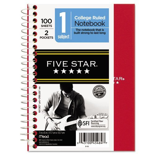 - Five Star 45484 5 X 7 College Ruled Wirebound Personal Notebook Assorted by MEA