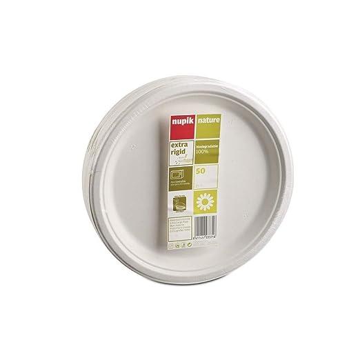 Nupik Plato Grande 25 cm rígido y Liso 100% Biodegradable. Apto ...