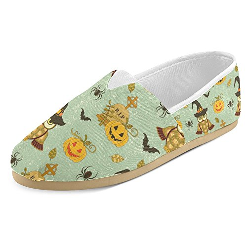 InterestPrint Women's Loafers Classic Casual Canvas Slip On Fashion Shoes Sneakers Flats Size 7 Happy Halloween with Pumpkin and Owls on Turquoise Grunge Retro Background