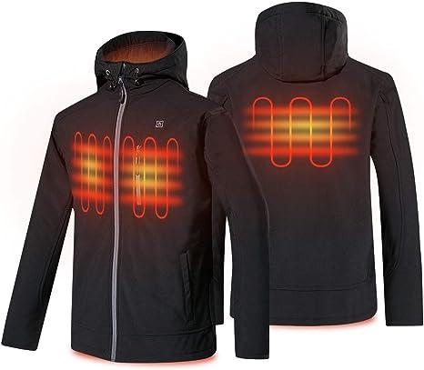 Pacchetto Non Incluso Power Bank Giacca di Riscaldamento per Uomo elettrica Giacca Termica Riscaldata di Riscaldamento Impermeabile e Antivento Sport Giacca Riscaldante Jacket Men Abbigliamento Riscaldato USB Regolabile Vestiti Riscaldati Inverno